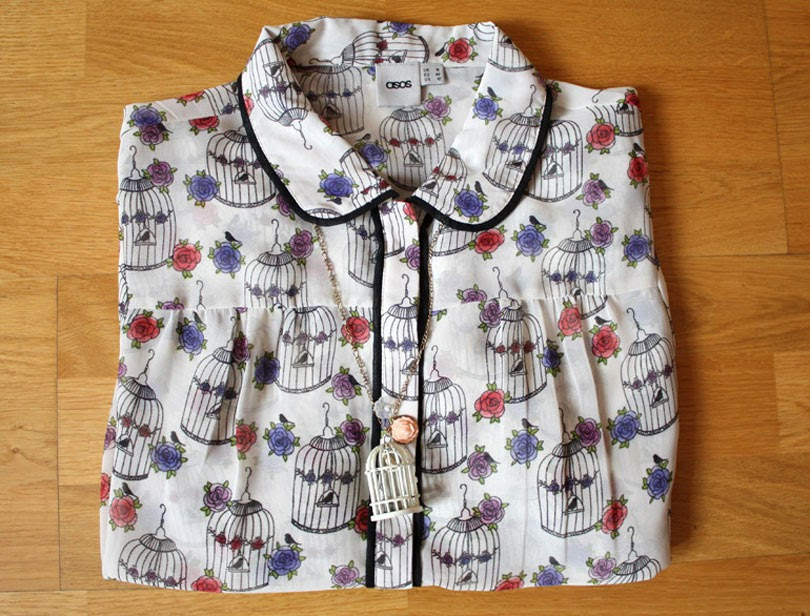 printed blouse fashion outfit flat lay from the high street