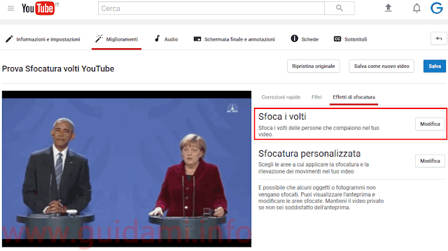 YouTube strumento Sfoca i volti