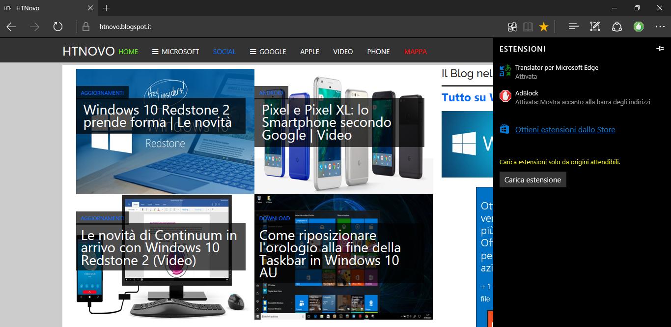 Come aggiungere Estensioni in Microsoft Edge non presenti in Windows Store HTNovo
