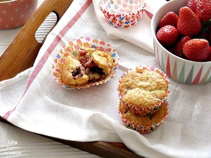 Muffins de fresa con chocolate