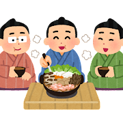 ちゃんこ鍋を食べる力士のイラスト