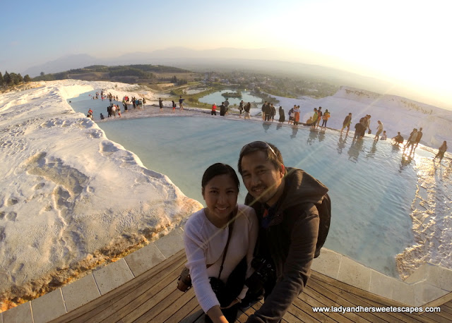 golden glow of the sunset in Pamukkale