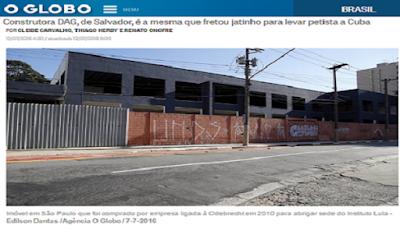 PF diz que empresa ligada à Odebrecht comprou sede para Instituto Lula