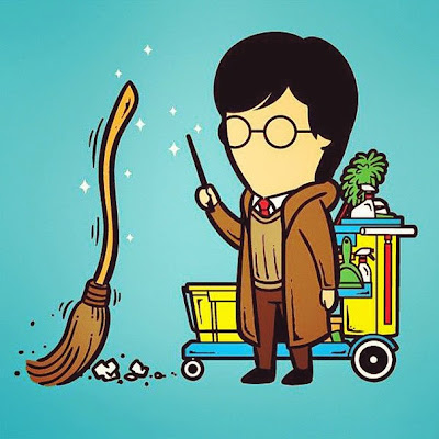 Harry Potter usa su escoba para barrer casas.