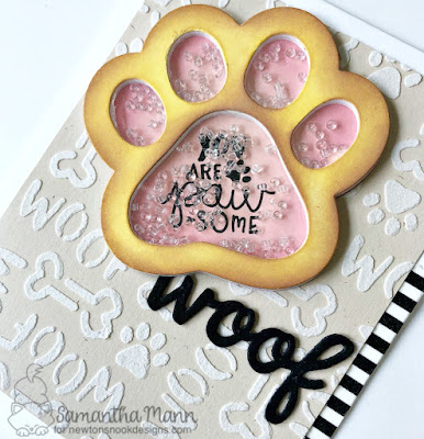 You're PAW-some Card by Samantha Mann for Newton's Nook Designs, handmade card, cards, shaker card, puppy, distress ink #shakercard #newtonsnook #handmadecards
