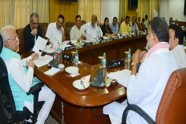 Haryana Chief Minister, Mr. Manohar Lal presiding over state cabinet meeting in Chandigarh