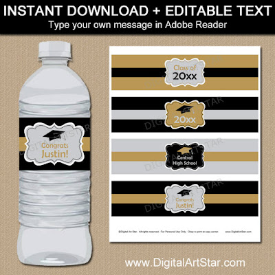 graduation party supplies in black, gold, and silver