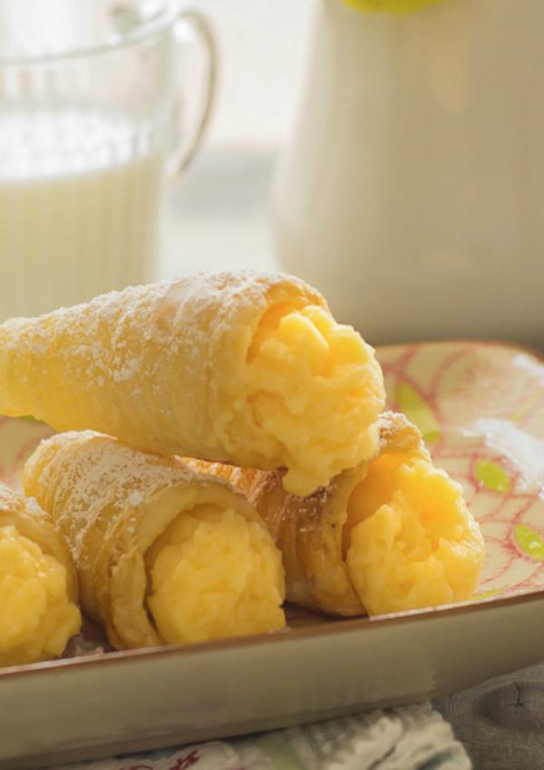 Cucuruchos de hojaldre rellenos de crema pastelera #sinlactosa #singluten