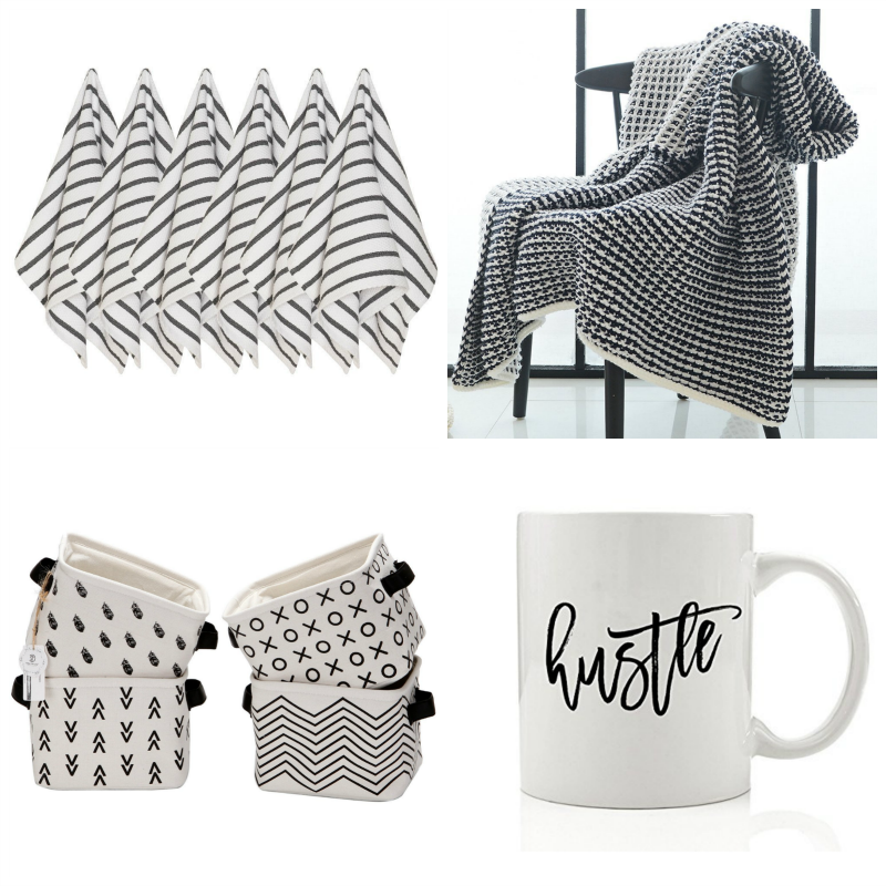 black and white kitchen towels, black and white blanket, black and white baskets, black and white mug, minimalist decor, modern home decor