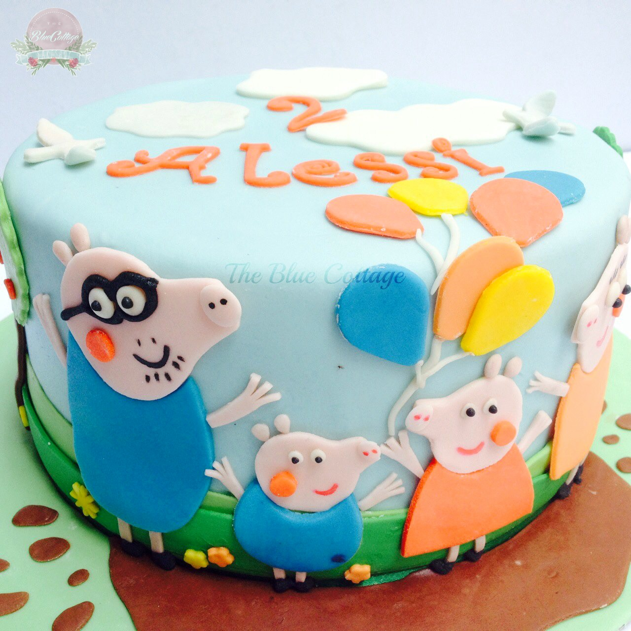 The Blue Cottage Birthday Cake Peppa Pig And Family
