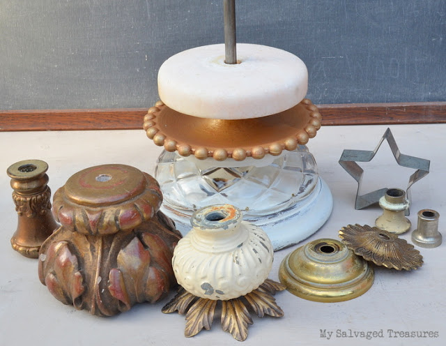 make a Christmas tree using vintage lamp parts