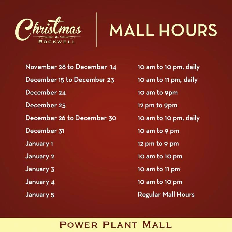 PowerPlant Mall  Hours Schedule Christmas 2014