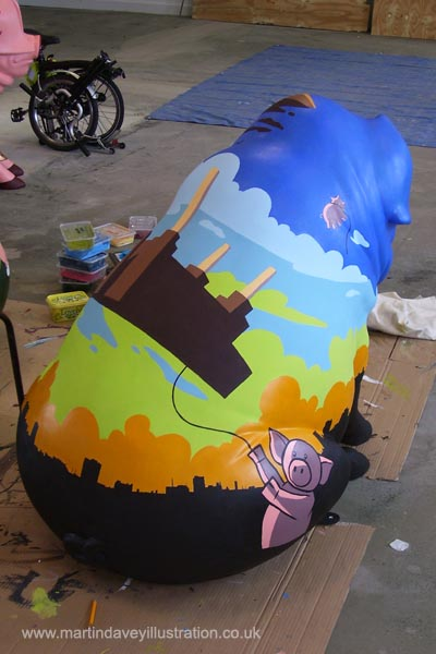 M P Davey pink floyd pig with battersea power station art