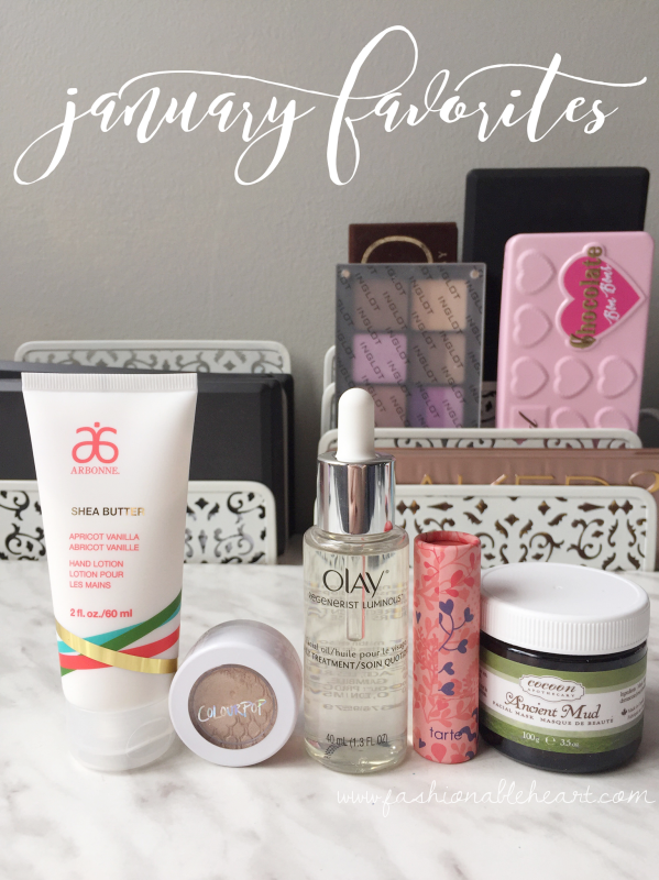 bbloggers, bbloggersca, canadian beauty bloggers, january favorites, 2017, arbonne, shea hand cream, lotion, colourpop cosmetics, supermodel super shock, eyeshadow, olay regenerist facial oil, tarte amazonian butter lipstick, golden pink, cocoon apothecary, ancient mud mask
