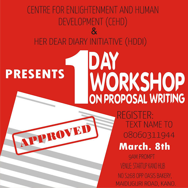 CEHD AND HDDI TO HOLD A ONE DAY WORKSHOP ON PROPOSAL WRITING