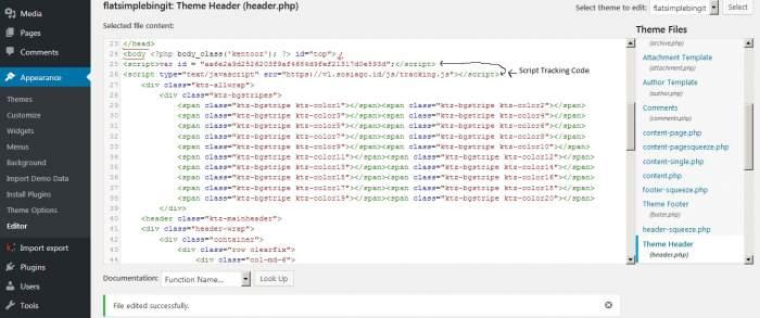 Peletakan Script Tracking Code Sosiago.id