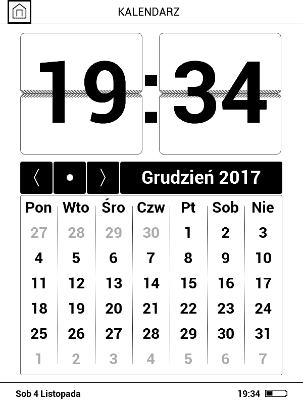 zrzut ekranu z widokiem aplikacji Kalendarz na czytniku PocketBook Basic 3