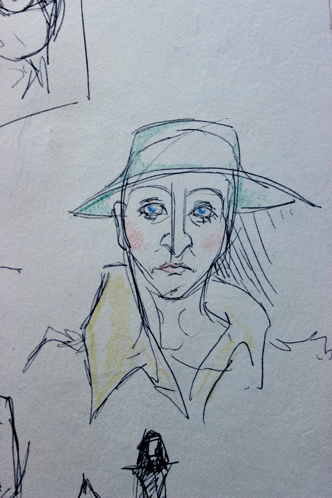 Drawing Sketch Illustration Pencil Sketchpad Notebook Colour Character Man Hat