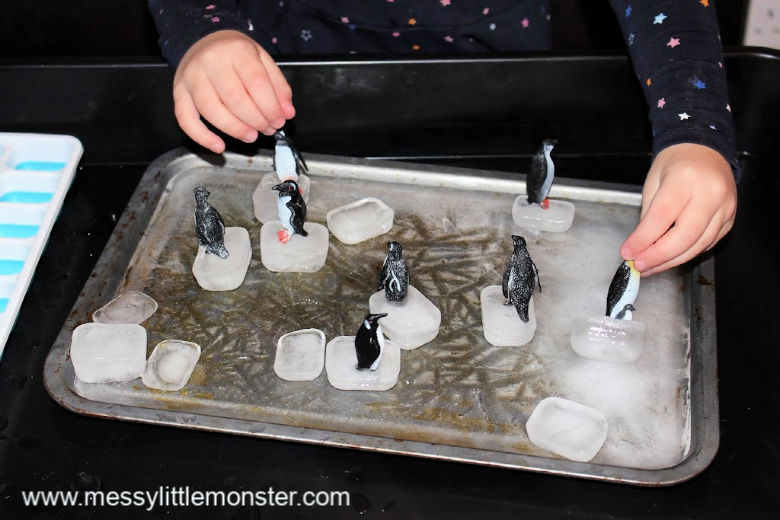 Diy ice rink and ice skating penguin small world