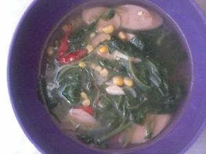 resep sayur bayam jagung sosis