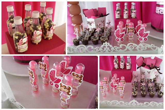 Decoração Bonecas Rosa e Branco - Chá de Bebê