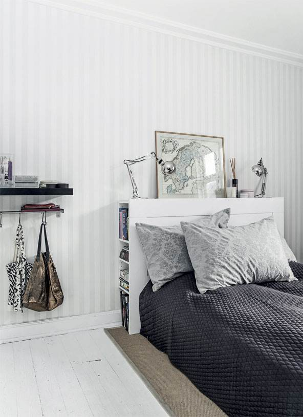 white Nordic bedroom decor with stripe wallpaper white floor