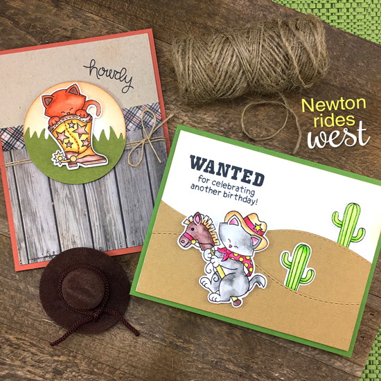 Cat Cowboy cards by Jennifer Jackson | Newton Rides West | Cat Cowboy Western Stamp Set by Newton's Nook Designs #newtonsnook