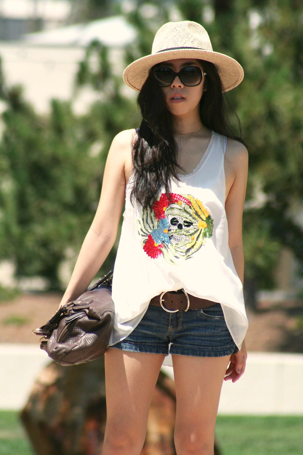 Adrienne Nguyen_Daniel Rainn Skull Sequin Top with Denim Shorts_Free People