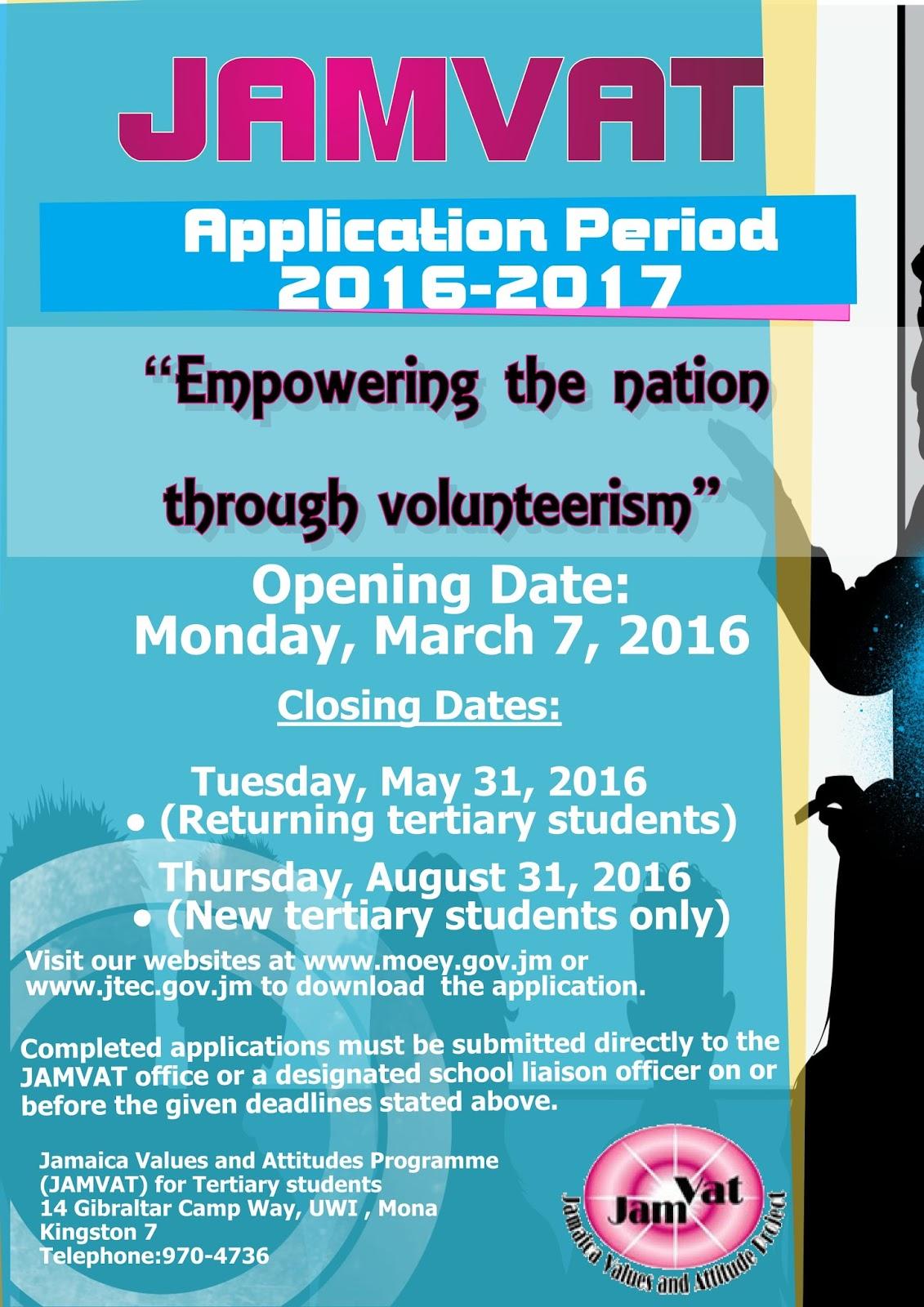 jobs postings caribbean jamvat scholarships application period thursday 16 2017