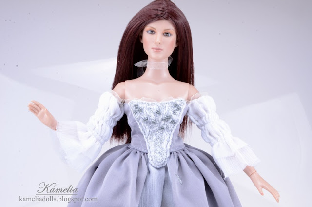 Handmade emroidered dress for Tonner doll.