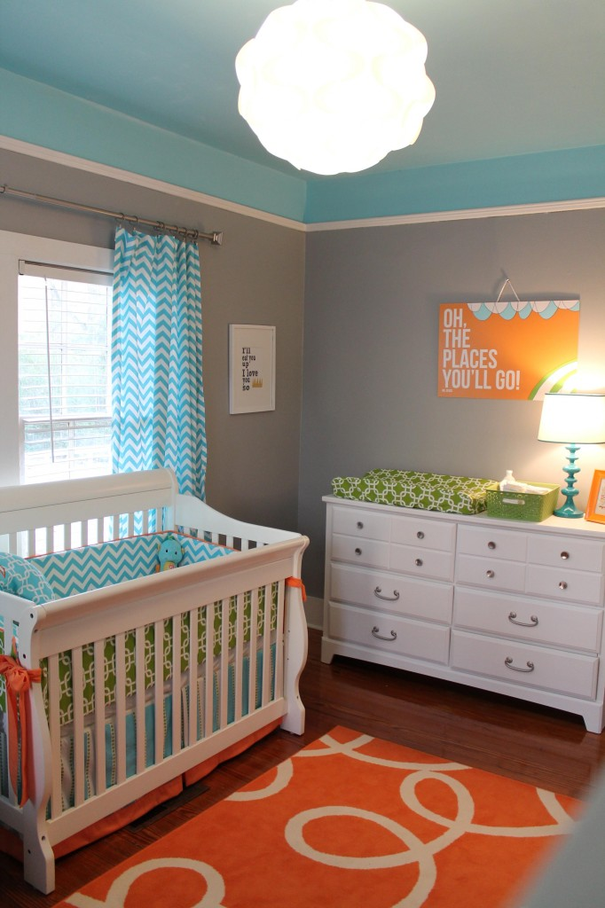 I Think The Colors In This Nursery Are Fantastic It Never Hurts My Feelings If You Throw Some Chevron Curtains Too