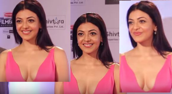 HOT KAJAL AGGARWAL SMILING WITH BOOBS EXPOSED CLEAVAGE