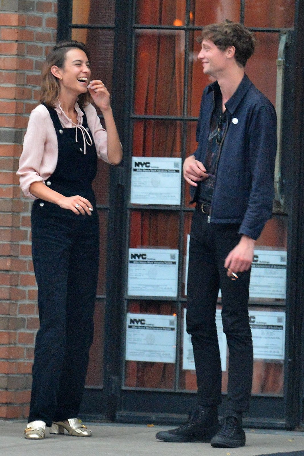 Alexa Chung Having a Smoke Break & snuggles up with ex-boyfriend Matthew Hitt in NY City