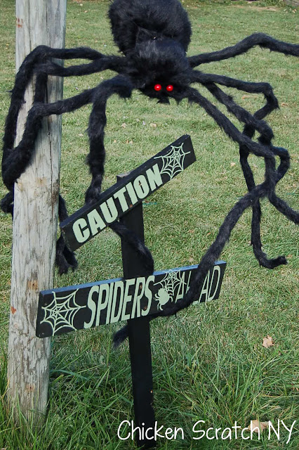 Halloween Spider Web Caution Signs