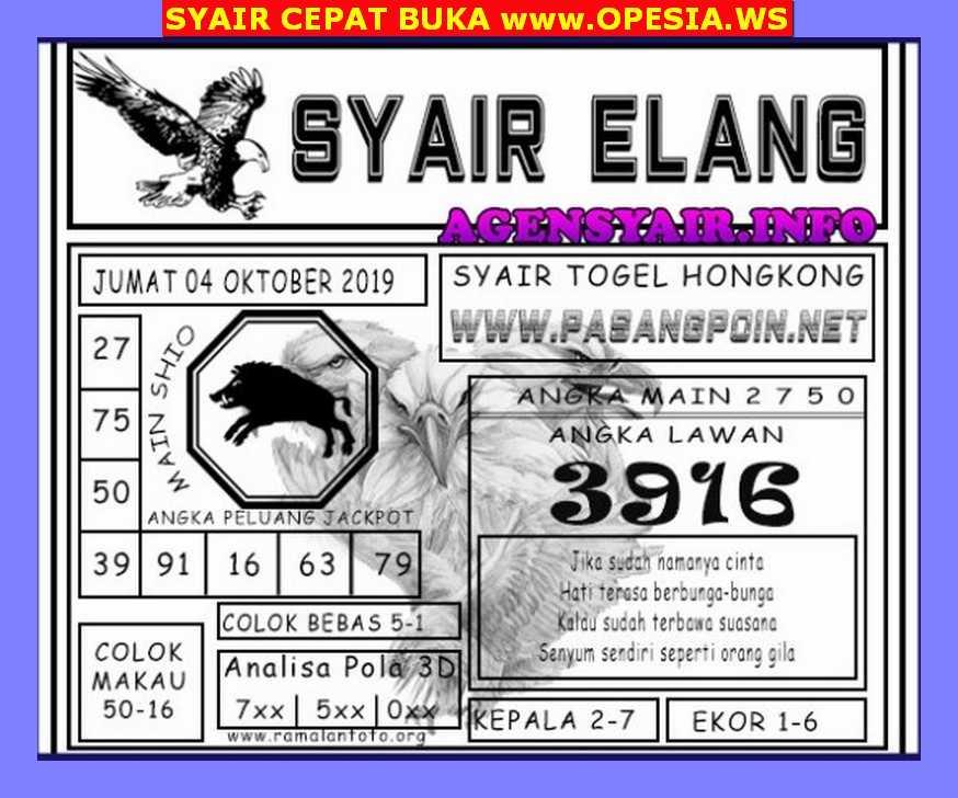 Kode syair Hongkong Jumat 4 Oktober 2019 149