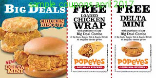 free Popeyes Chicken coupons for april 2017