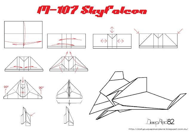 Infografía avión de papel M-107 SkyFalcon