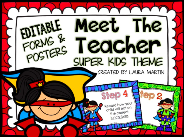 Super Heroes Back to School ideas for Meet the Teacher and Open House