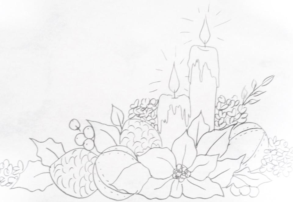 risco para pintura em tecido natal bolas e flores