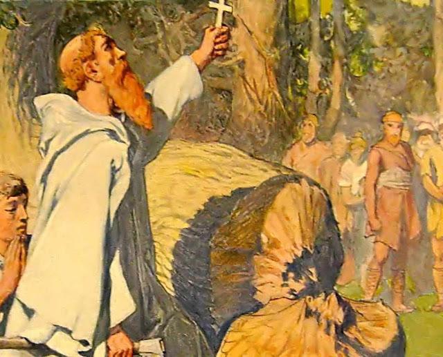 São Bonifácio derruba árvore sagrada pagã.  Emil Doepler (1855 – 1922).  Uma santa truculência atraiu a bênção da árvore de Natal.