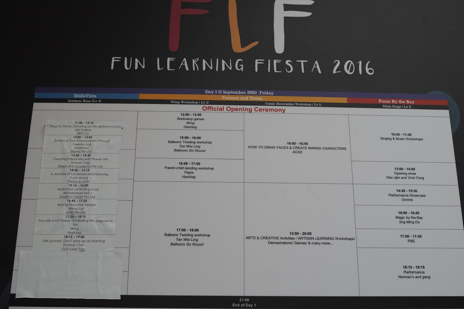 September 2016 - Fun Learning Fiesta (FLF) @ SCAPE