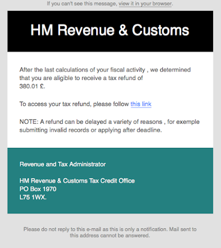 Automated tax refund notification hmrc phishing scam - Hm revenue and customs office address ...