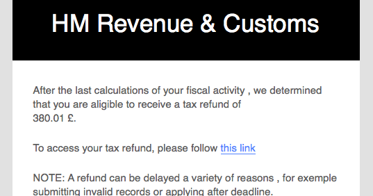 Automated tax refund notification hmrc phishing scam - Hm revenue office address ...