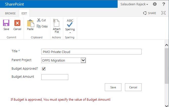 Required Field Validation Based on Another Column's Value in SharePoint 2013