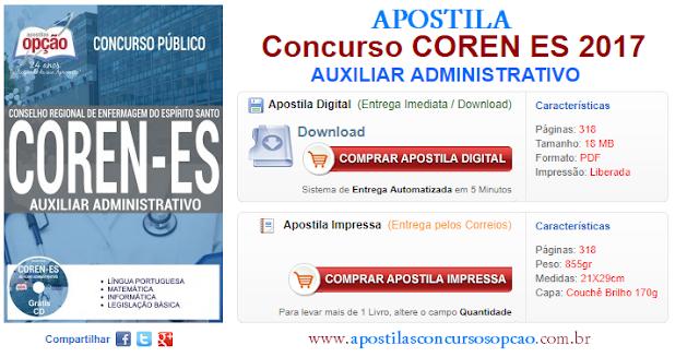 Apostila Concurso COREN-ES 2017 Auxiliar Administrativo.