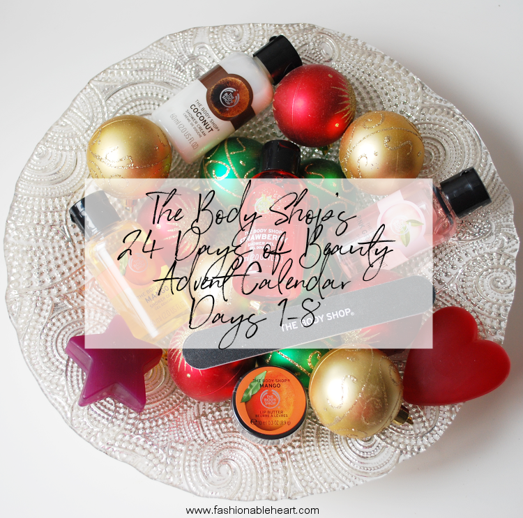 bbloggers, bbloggersca, canadian beauty bloggers, beauty blog, advent calendar, the body shop, 24 days of beauty, first week, december 2017, nail file, pink grapefruit, shower gel, frosted berries, frosted plum, soap, strawberry, shower cream, coconut, mango, lip butter, product review