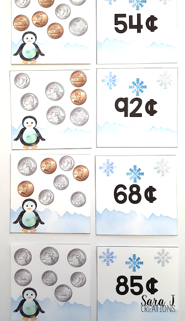 FREE Winter Money Match Puzzles Game. Perfect activity for practicing counting coins. Grab your free printable now! #firstgrade #secondgrade #money #mathcenters #sarajcreations
