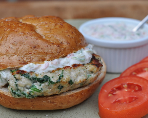 Chicken Burgers with Fresh Spinach, Feta and Garden Tzatziki Sauce ♥ KitchenParade.com, Greek-style chicken sandwiches served with an updated Greek tzatziki sauce. High Protein. Weight Watchers Friendly.