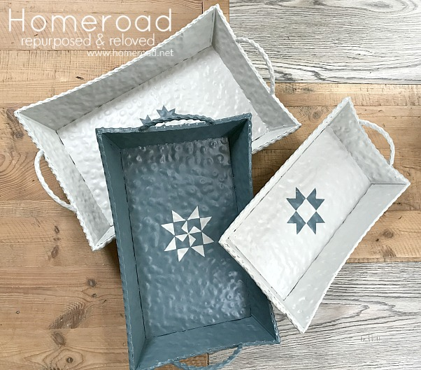 Painted Metal Tray Set with Quilt Design Stencil
