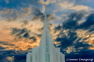Cramer Imaging's professional quality fine art photograph of the Rexburg temple with clouds at sunset in Madison, Idaho
